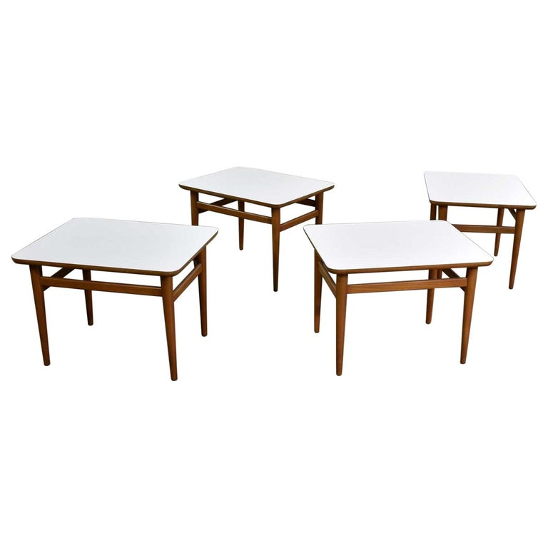 Set of 4 Mid-Century Modern Birch Side Tables with White Laminate Tops & Tapered For Sale