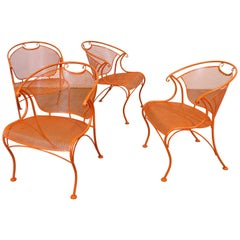 Set of 4 Mid-Century Modern Curvy Sculptura Iron Outdoor Patio Arm Dining Chairs
