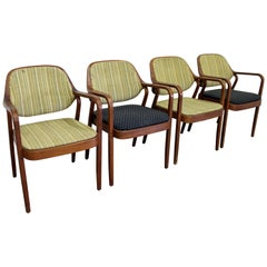 Set of 4 Mid-Century Modern Don Pettit for Knoll Walnut Dining Armchairs