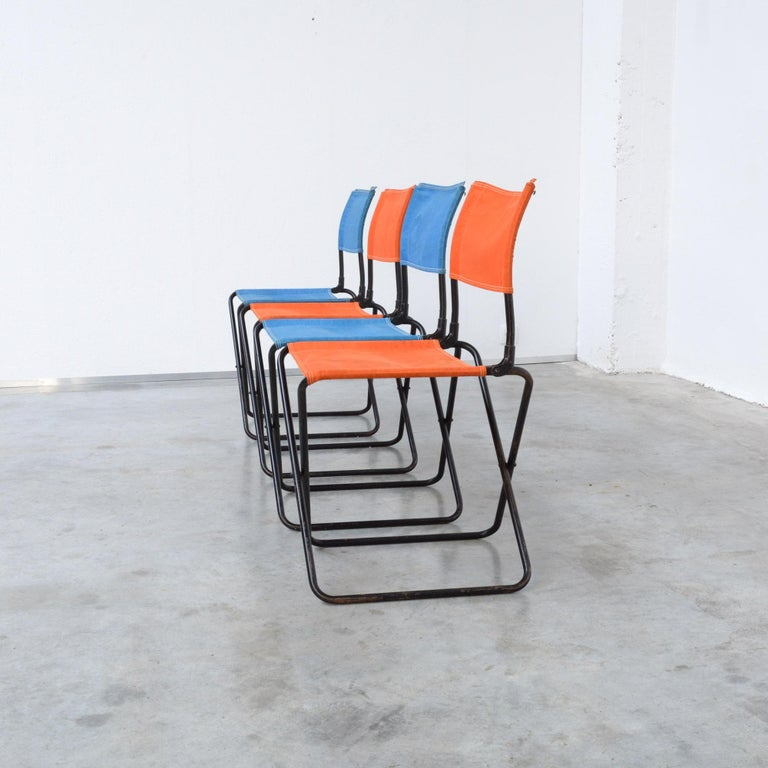French Set of 4 Mid-Century Modern Garden Chairs For Sale