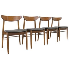 Set of 4 Mid-Century Modern H Paul Browning Curved Shell Back Dining Chairs