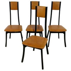 Set of 4 Mid-Century Modern High Back Dining Side Chairs