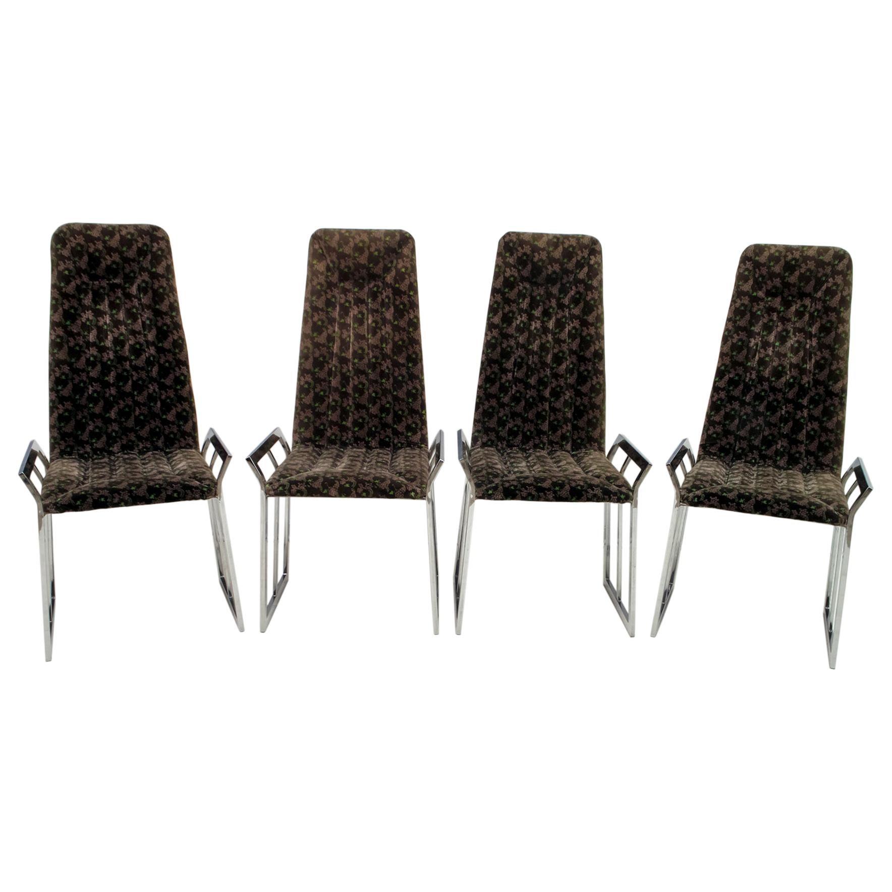 Set of 4 Mid-Century Modern Italian Chromed Steel and Velvet Dining Chairs 1970s