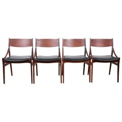 Set of 4 Mid-Century Modern Scandinavian Chairs in Rosewood by H. Eriksen