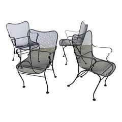 Set of 4 Mid-Century Modern Sculptural Mesh Wire Metal Outdoor Armchairs