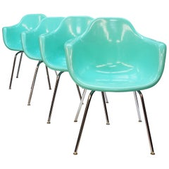 Set of 4 Mid-Century Modern Seafoam Green Fiberglass Shell Chairs by Krueger