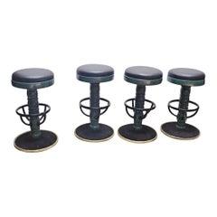 Set of 4 Mid-Century Modern Black and Green Swivel Bar Stools