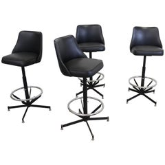 Set of 4 Mid-Century Modern Swivel Bar Stools