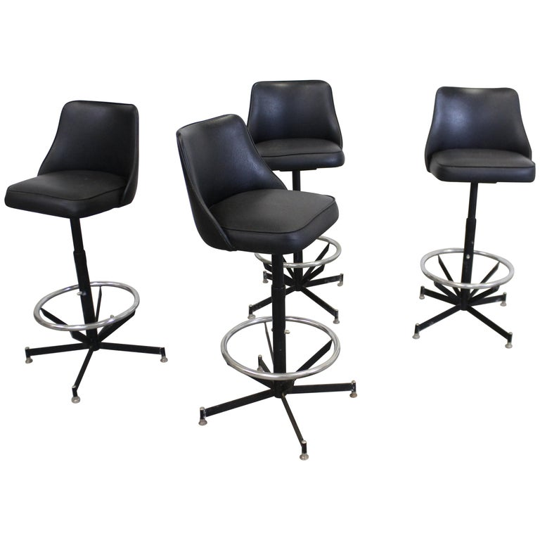 Set of 4 Mid-Century Modern Swivel Bar Stools For Sale