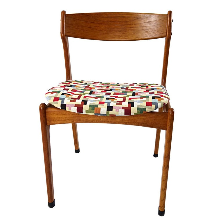 Danish Set of 4 Mid-Century Modern Teak Wood Dining Chairs by Johannes Andersen For Sale
