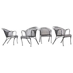 Set of 4 Mid-Century Modern Woodard Iron Curve Back Outdoor Arm Chairs