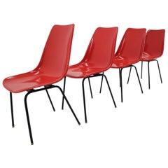 Set of 4 Midcentury Red Design Fiberglass Dining Chairs / Czechoslovakia, 1960s