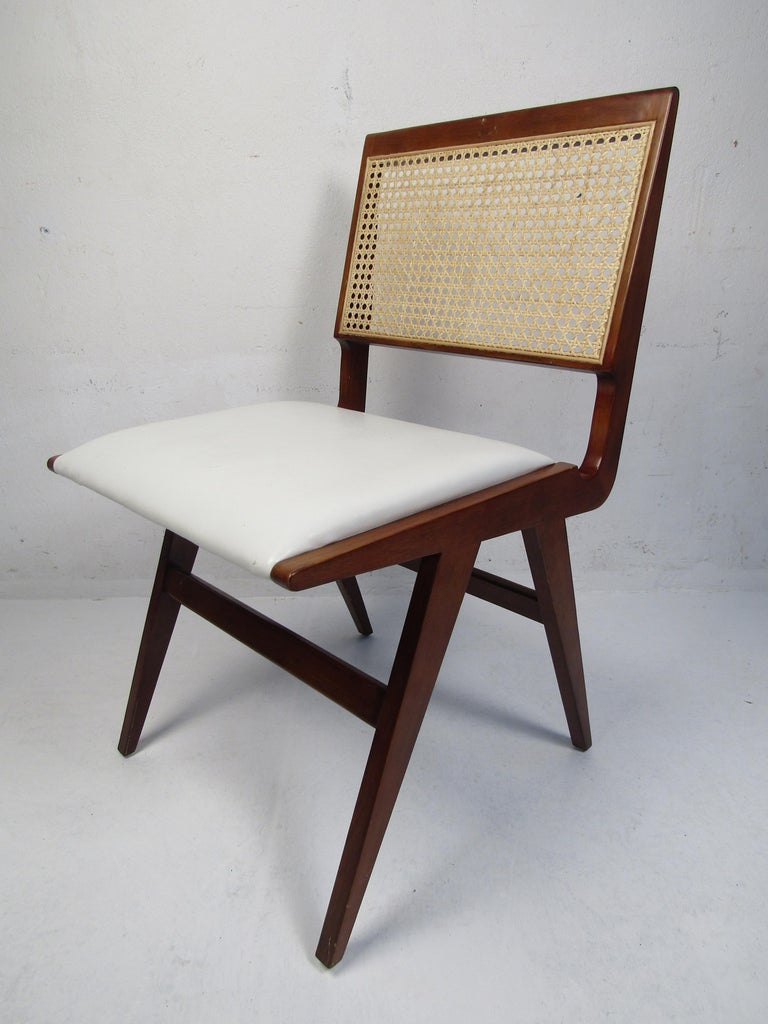 Mid-Century Modern Set of 4 Midcentury Style Cane-Back Dining Chairs For Sale