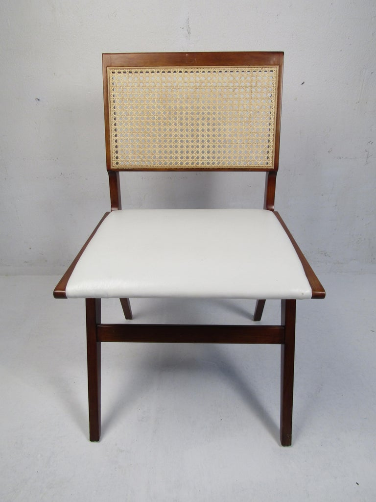 Woven Set of 4 Midcentury Style Cane-Back Dining Chairs For Sale