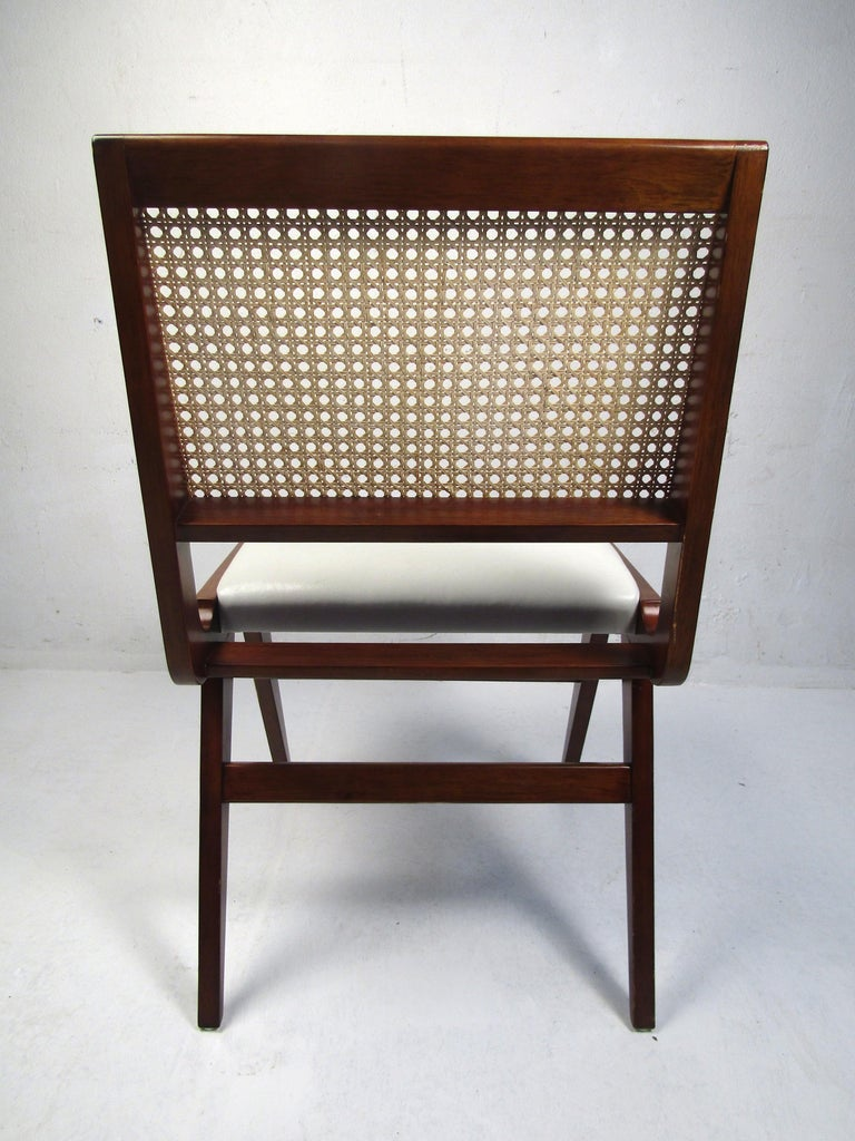 20th Century Set of 4 Midcentury Style Cane-Back Dining Chairs For Sale