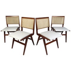 Set of 4 Midcentury Style Cane-Back Dining Chairs