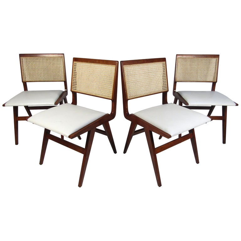 Set of 4 Midcentury Style Cane-Back Dining Chairs For Sale