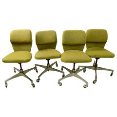 Set of 4 Mid Century Swivel Office Chairs by Marble Imperial