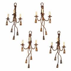 Set of 4 Mid Century Tassle 3-Light Sconces