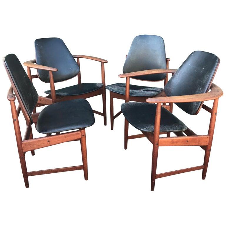 Set of 4 Midcentury Arne Hovmand Olsen Danish Teak Armchairs & Side Chairs For Sale
