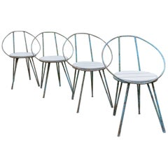 Set of 4 Midcentury Blue Patinated Metal Garden Chairs from the 1950s