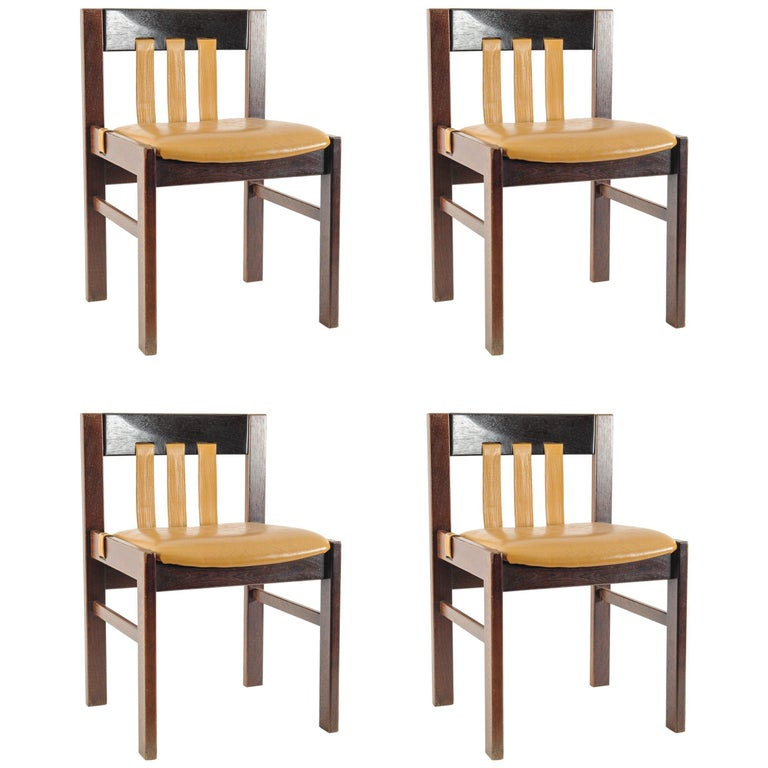 Set of 4 Midcentury Chairs with Leather Designed, Martin Visser for 't Spectrum For Sale