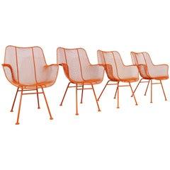 Set of 4 Midcentury Danish Modern Woodard Sculptura Arm Chairs