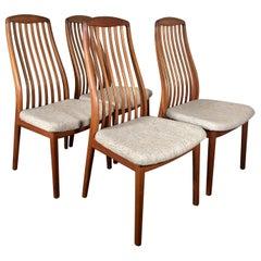 Set of 4 Midcentury Danish Teak Dining Chairs by Dyrlund