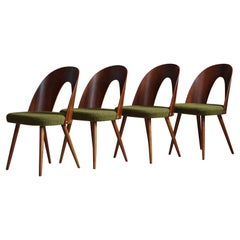 Set of 4 Midcentury Dining Chairs by A. Šuman in Green Boucle by Kvadrat