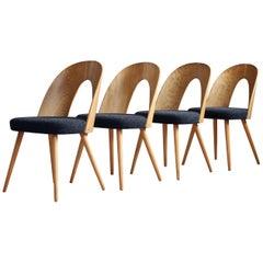 Set of 4 Midcentury Dining Chairs by A. Šuman in Melange-Black Wool by Kvadrat