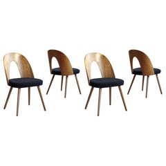 Set of 4 Midcentury Dining Chairs by A. Šuman in Melange-Black Wool by Kvadrat