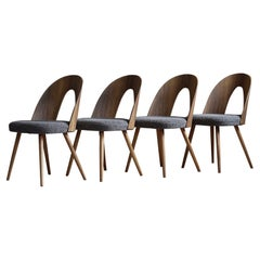 Set of 4 Midcentury Dining Chairs by A. Šuman, Reupholstered in Kvadrat Fabric