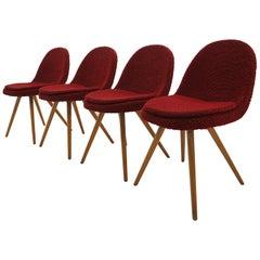 Set of 4, Midcentury Dining Chairs Designed by Miroslav Navrátil, 1960s
