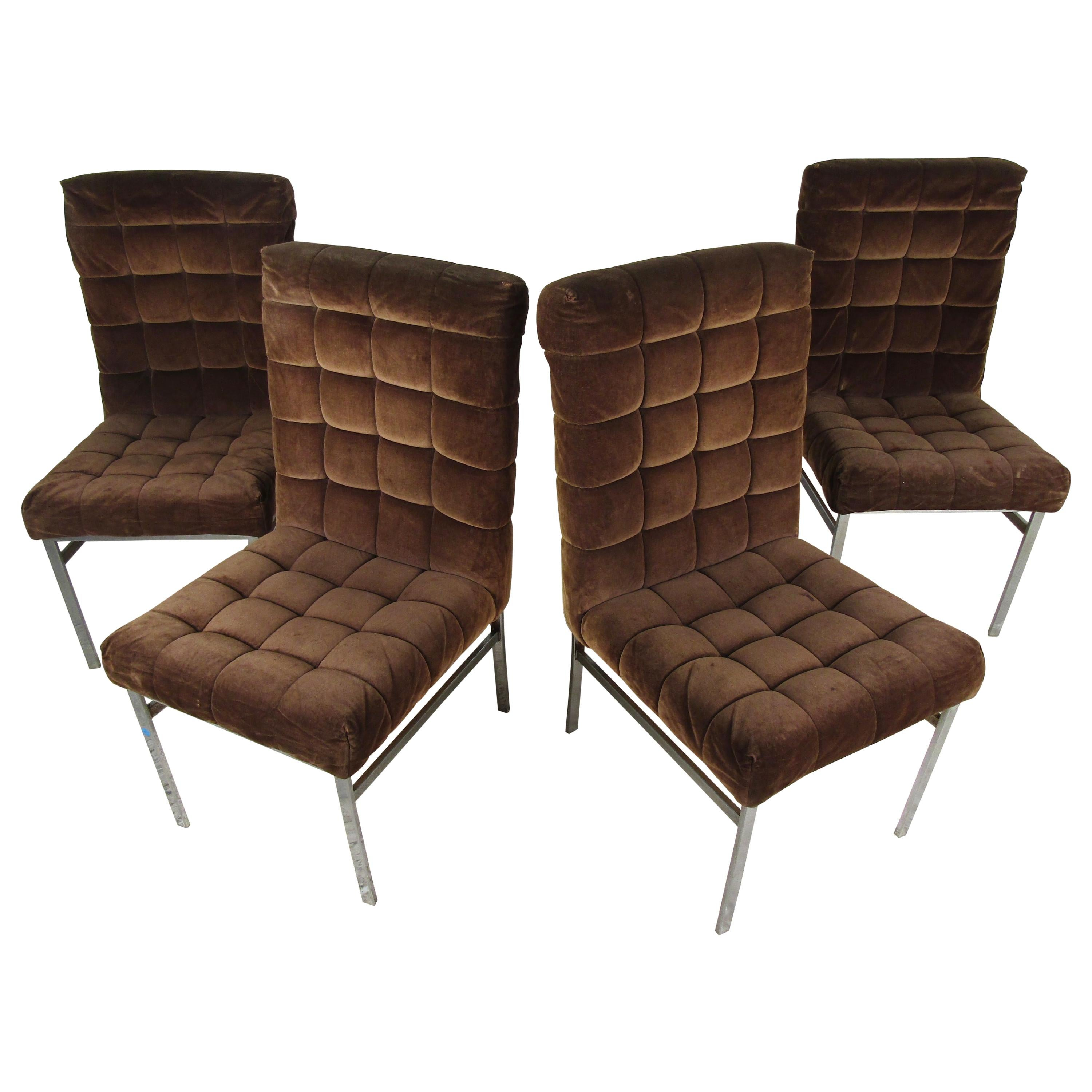 Set of 4 Midcentury Dining Chairs with Tufted Upholstery