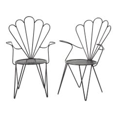 Set of 4 Midcentury French Iron Garden Chairs, Re-finished