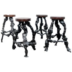 Set of 4 Midcentury French Twisted Grapevine Handcrafted Root Bar Stools