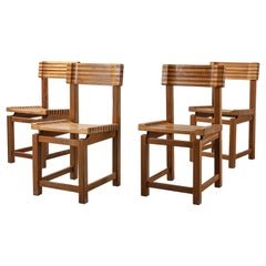 Set of 4 Midcentury Striped Dual Tone Wood Dining or Side Chairs