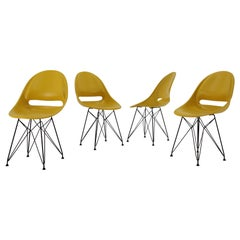 Set of 4 Midcentury Yellow Design Fiberglass Dining Chairs by M.Navratil, 1960s