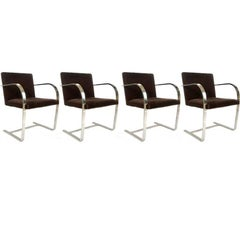Set of 4 Mies Van Der Rohe for Knoll Flat Brno Chairs in Chocolate Brown Mohair