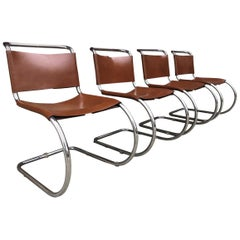 Set of 4 Mies van der Rohe Leather MR10 Cantilever Chairs for Knoll Int'l