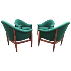Set of 4 Milo Baughman Barrel Back Walnut Frame Lounge Chairs Midcentury