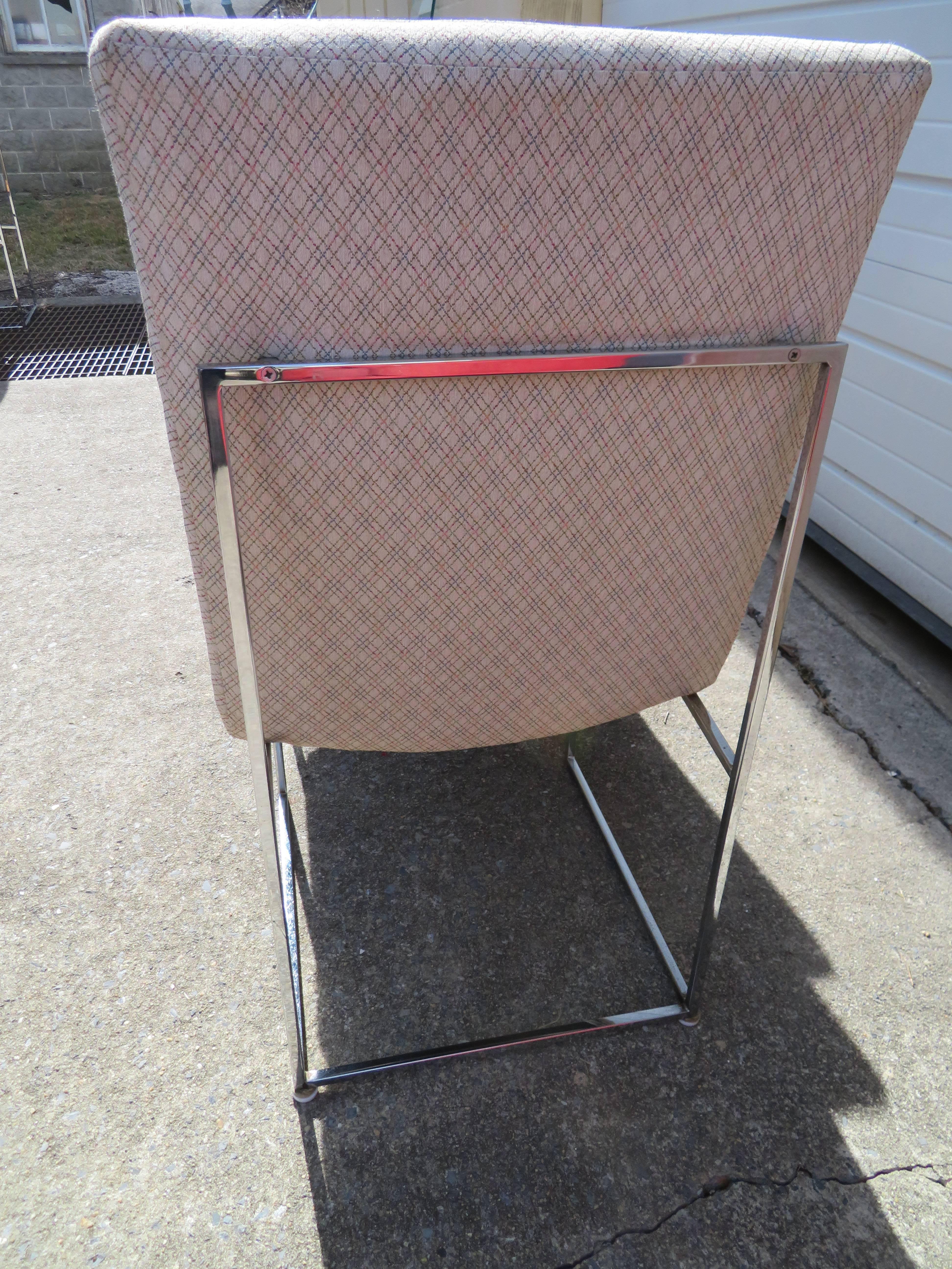Mid Century Modern Set Of Four Milo Baughman Chrome Cube Architectural  Dining Chairs, Midcentury