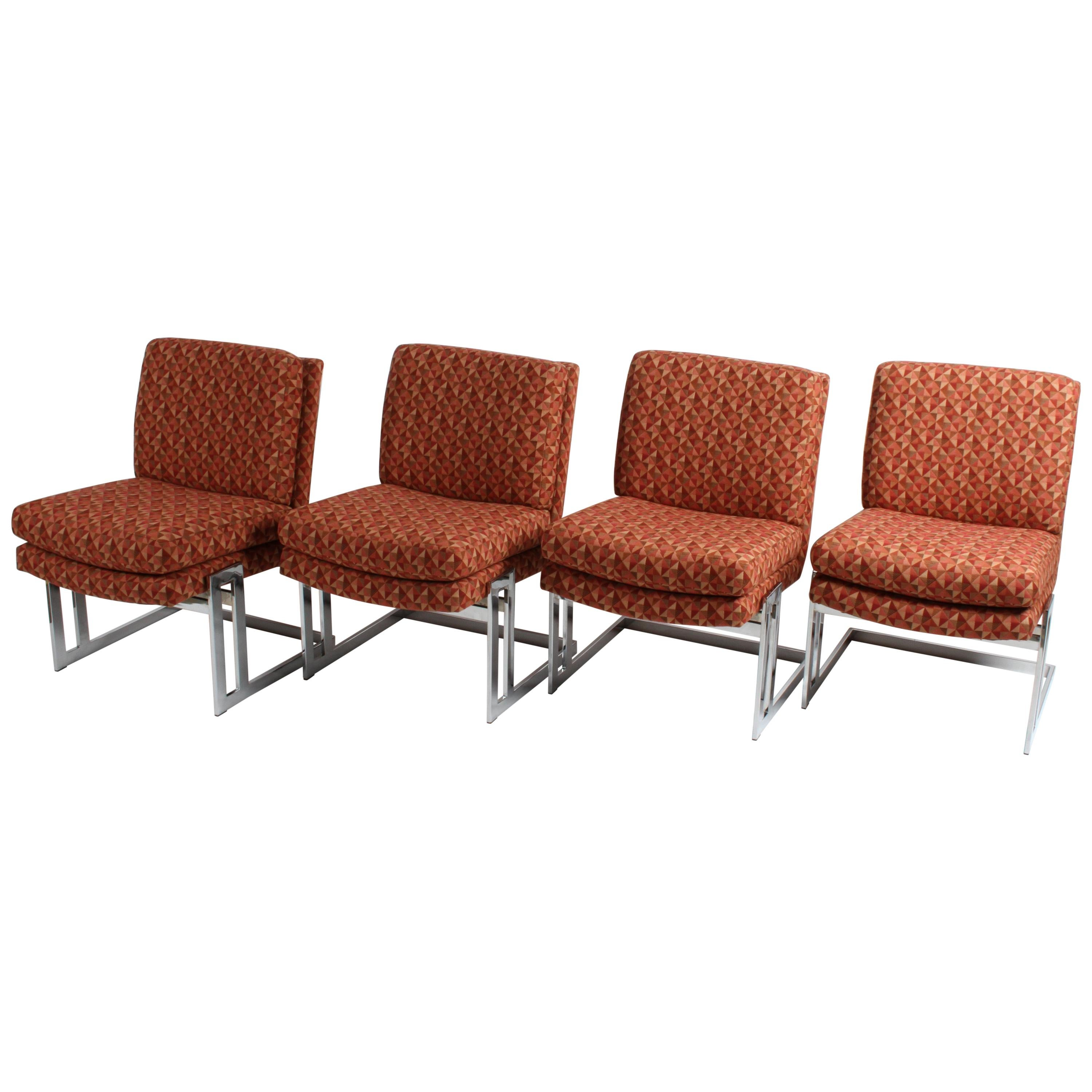 Set of 4 Milo Baughman for Thayer-Coggin Cantilever Dining or Game Table Chairs