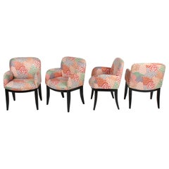 Set of 4 Milo Baughman for Thayer-Coggin Dining or Game Table Chairs, Saber Leg