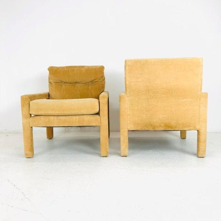 Set of 4 Milo Baughman Gold Velvet Parsons Chairs 5