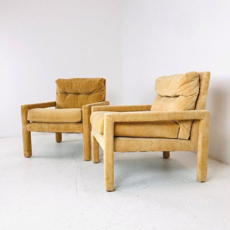 Mid-Century Modern Set of 4 Milo Baughman Gold Velvet Parsons Chairs