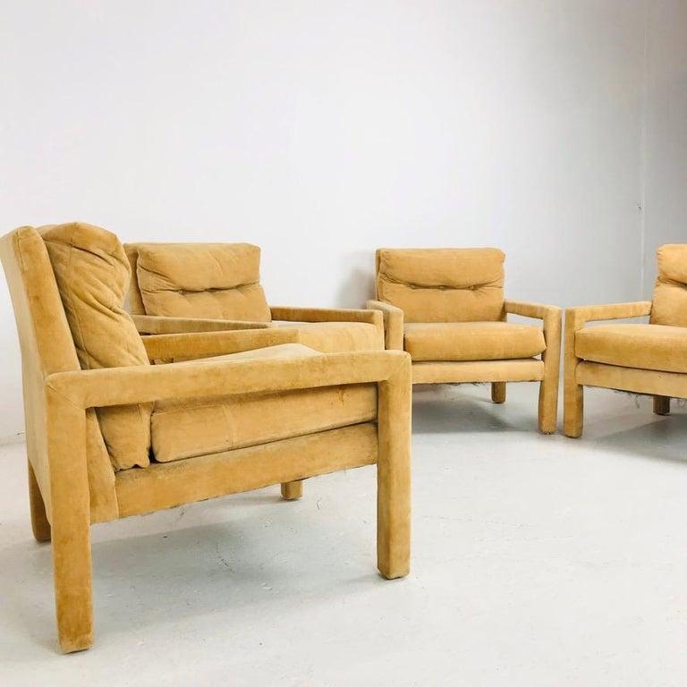 Late 20th Century Set of 4 Milo Baughman Gold Velvet Parsons Chairs