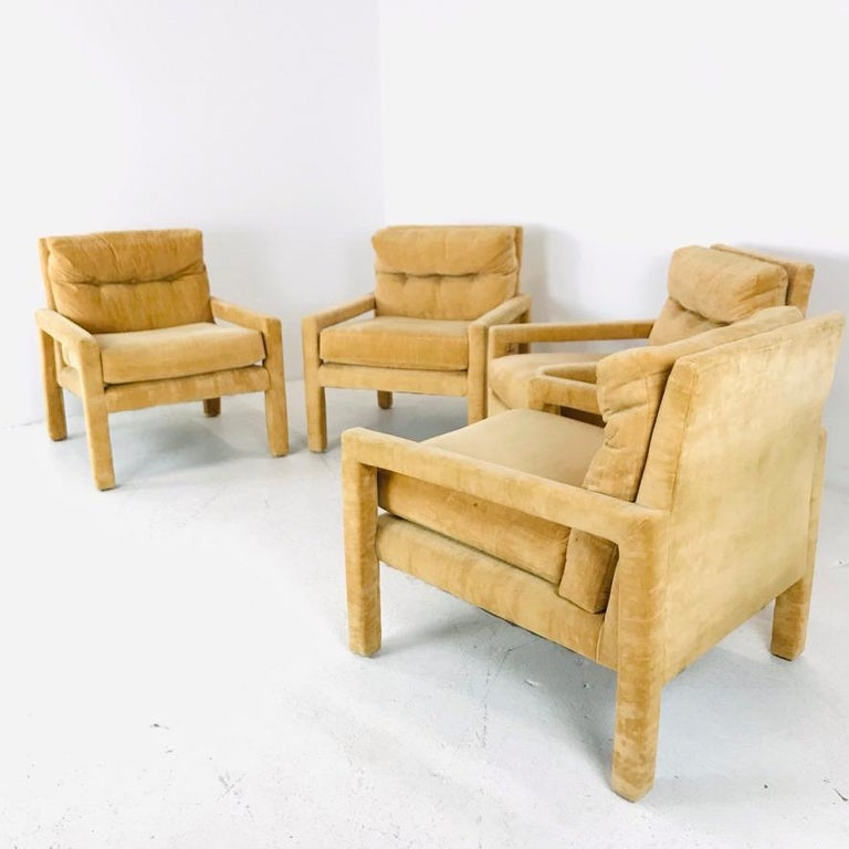 Set of 4 Milo Baughman Gold Velvet Parsons Chairs 1