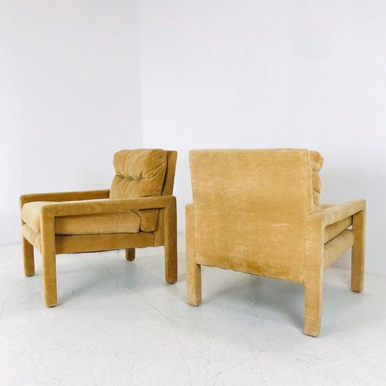 Set of 4 Milo Baughman Gold Velvet Parsons Chairs 2