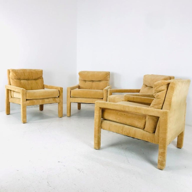 Set of 4 Milo Baughman Gold Velvet Parsons Chairs 3